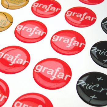 Doming Sticker, flat surfaces, round, all colors